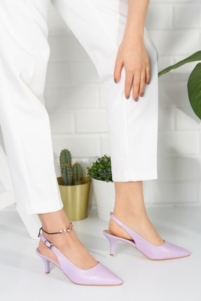 Alessia Shoes Kadın Lila Analin Topuklu Ayakkabı 2