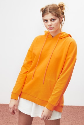 GRIMELANGE JANE Kadın Turuncu Basic Kapüşonlu Sweatshirt 1