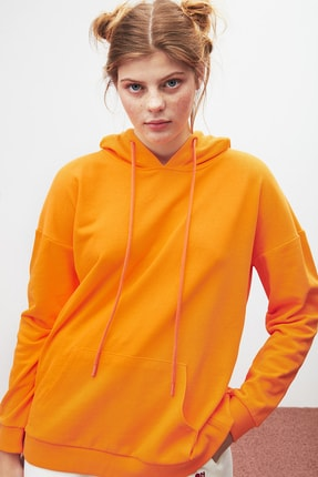GRIMELANGE JANE Kadın Turuncu Basic Kapüşonlu Sweatshirt 3