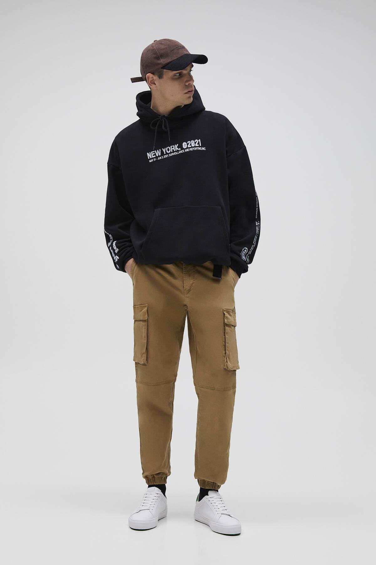 Pull & Bear Erkek Siyah Oversize Stwd Kapüşonlu Sweatshirt 04592526 2