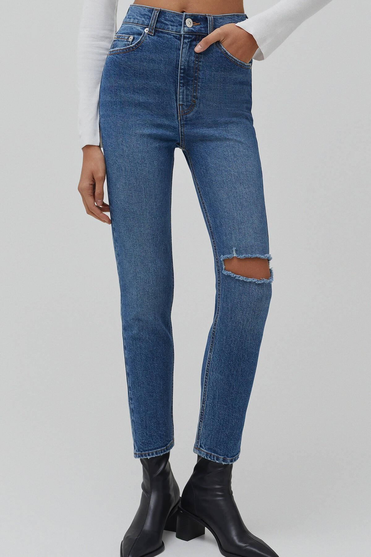 Pull & Bear Kadın Mavi Süper Yüksek Bel Slim Fit Mom Jean 04681315 3