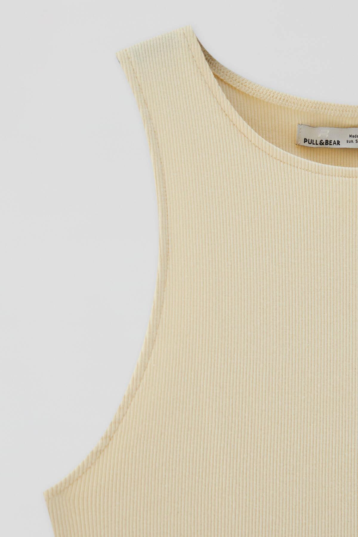 Pull & Bear Kadın Açık Sarı Kolsuz Fitilli Top 04240362 3