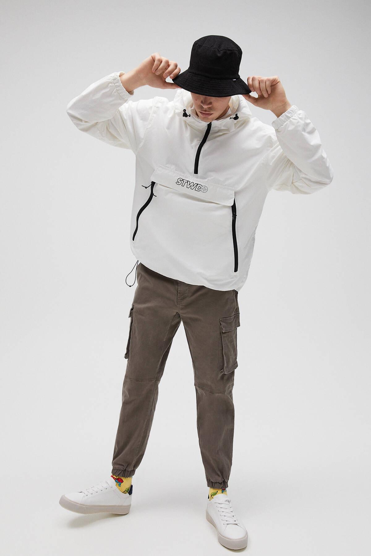Pull & Bear Erkek Beyaz Basic Stwd Logolu Kanguru Mont 04711541 2