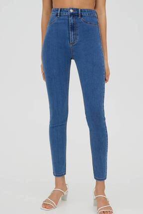 Pull & Bear Kadın Mavi Yüksek Bel Robalı Jeans 3