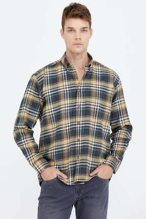 تصویر از Erkek Uzun Kollu Oduncu Gömlek - Sarı