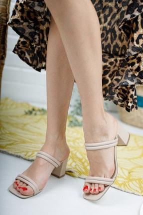 meyra'nın ayakkabıları Kadın Ten Çift Bantlı Topuklu Terlik 1