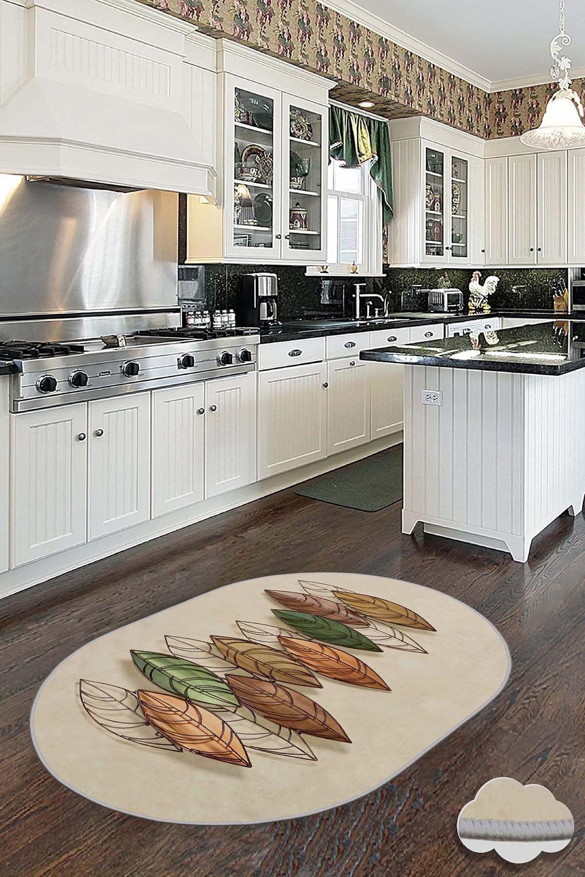 Dekoratif Ince Modern Leke Tutmaz Yıkanabilir Kaydırmaz Mutfak Halısı