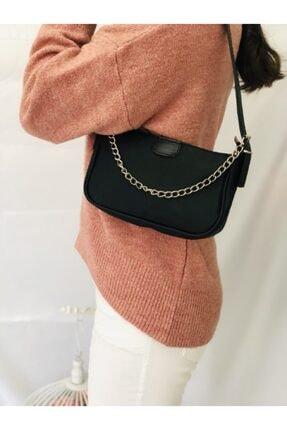 Esila Butik Kadın Siyah Saten Ince Zincirli Baget Baguette Çanta 2