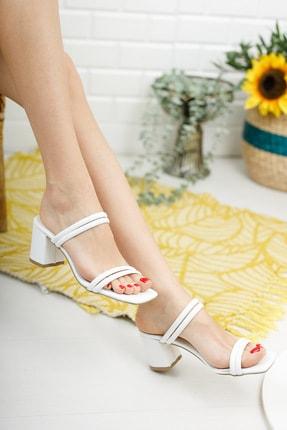 meyra'nın ayakkabıları Beyaz Çift Bantlı Topuklu Terlik 2
