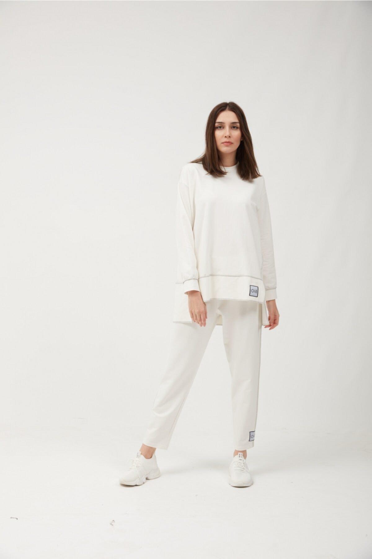 Kadın Beyaz Pamuklu Tunik Pantolon Eşofman Takım W-0943