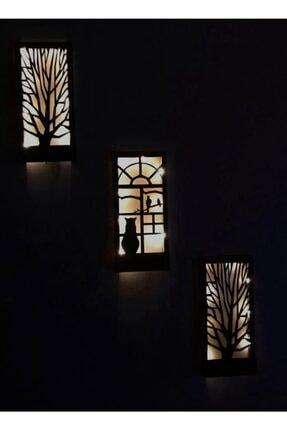 MSAĞWOODS 3 Lü Set Piller Dahil Peri Ledli Masif Ahşap Tablo Ev Hediyesi Hol Antre Gece Lamba 36x18 Duvar Süsü 1