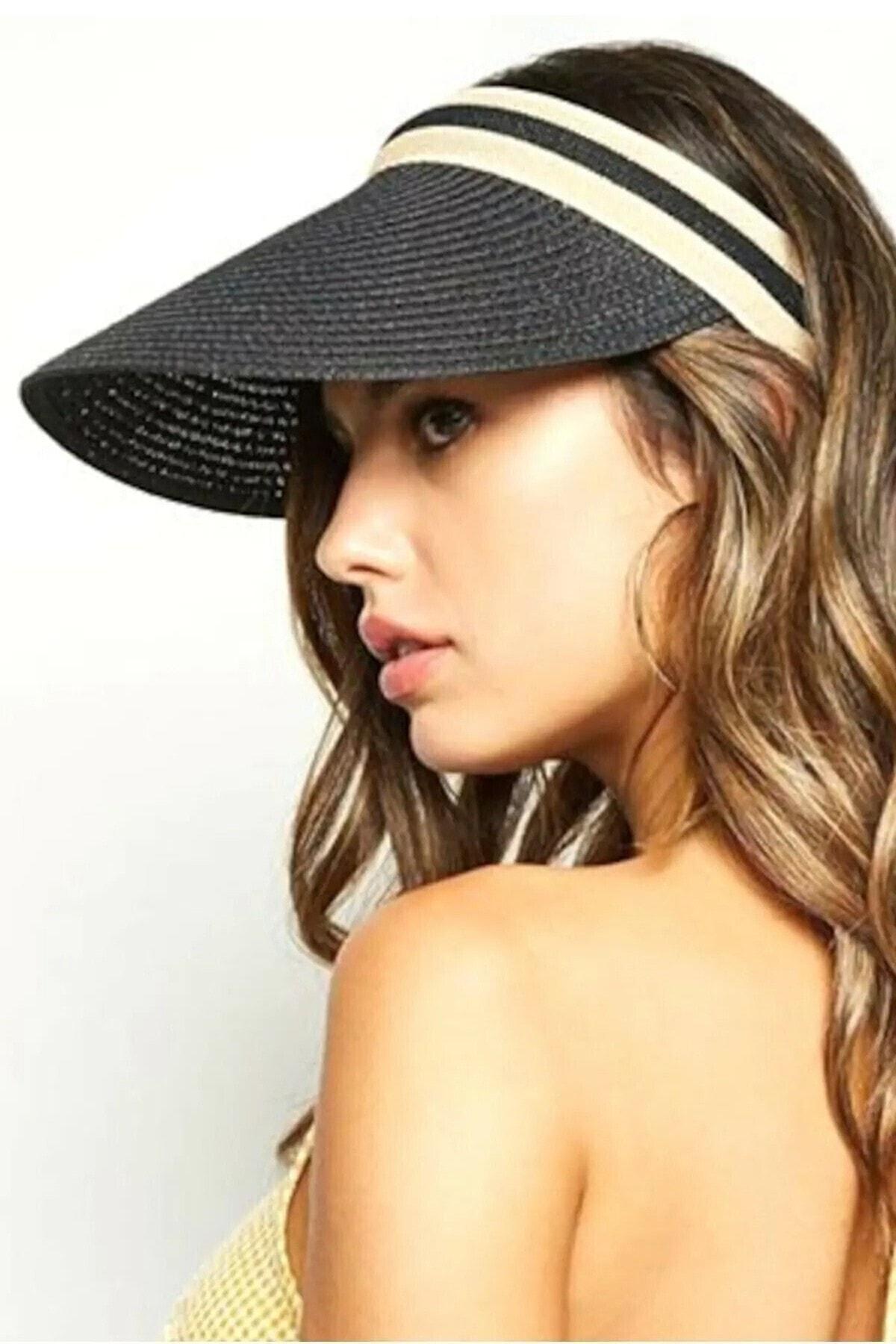 Kadın Siyah Ayarlanabilir Siperlikli Hasır Vizör Şapka