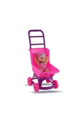 Efe Oyuncak Kız Çocuk Pembe Pusette Oyuncak Et Bebek 0