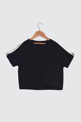 TRENDYOLMİLLA Lacivert Şeritli Crop Spor T-Shirt TWOSS21TS0551 4