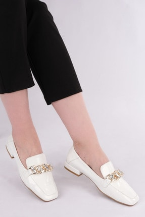 Marjin Kadın Beyaz Rugan Loafer Ayakkabı Bifan 3