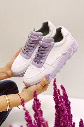 Nil Shoes Beyaz Lila Popi Spor Ayakkabı 0