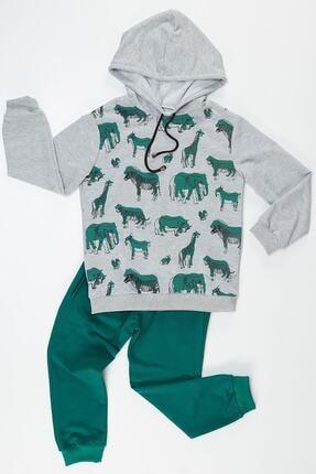Erkek Çocuk Yeşil Hayvan Baskılı Eşofman Takımı resmi