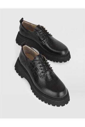 Picture of Kadın Siyah Kroko Hakiki Deri Oxford Ayakkabı