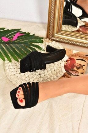 Fox Shoes Kadın Siyah Süet Topuklu Terlik K494566302 1