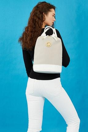 US Polo Assn A.Gri-Beyaz Kadin Sirt Çantasi Us3031 0