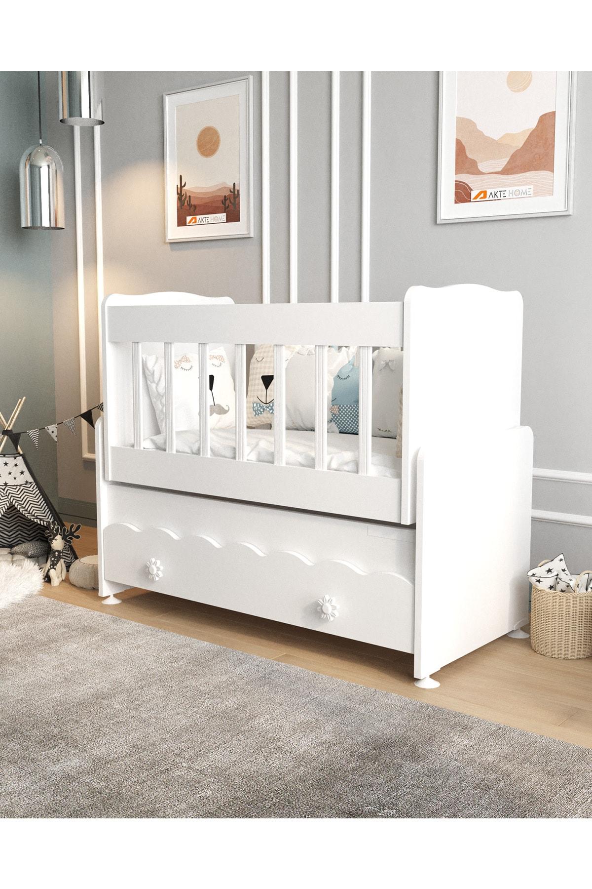Aktehome Çekmeceli Sallanır Anne Yanı Ahşap Bebek Beşiği Beyaz