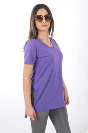 SARAMODEX Kadın Mor V Yaka Düz Renk Basic T-Shirt 0