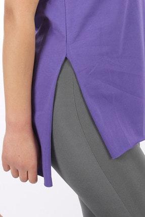 SARAMODEX Kadın Mor V Yaka Düz Renk Basic T-Shirt 3