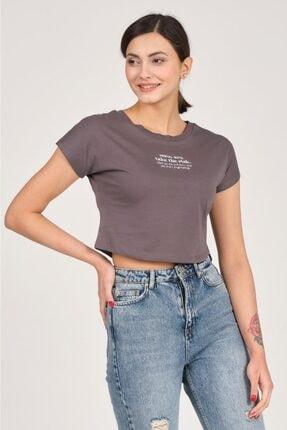 Tena Moda Kadın Antrasit Mental Note Nakışlı Tişört 1