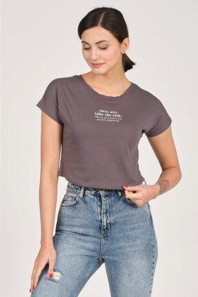 Tena Moda Kadın Antrasit Mental Note Nakışlı Tişört 2