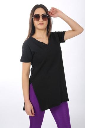 SARAMODEX Kadın Siyah V Yaka Düz Renk Basic T-Shirt 2