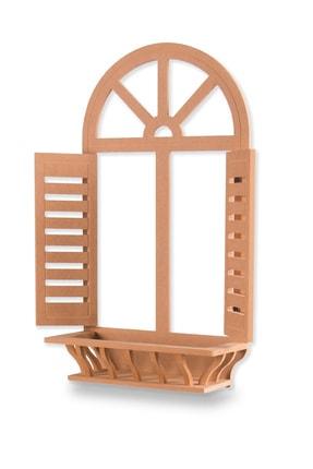 MONTESEV Ahşap Panjur Dekoratif Panjur Duvar Raf Çiçeklik Duvar Dekor Pencere Model 3