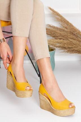 derithy Older Dolgu Topuklu Ayakkabı-hardal-lzt0536 3