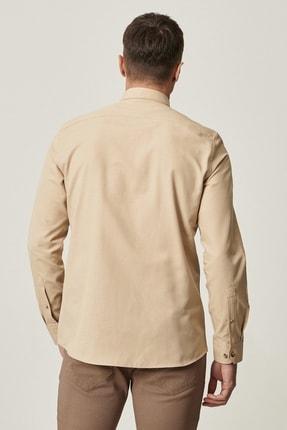 Altınyıldız Classics Erkek Bej Tailored Slim Fit Dar Kesim Düğmeli Yaka Oxford Gömlek 3