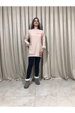 Loreen Kadın Bej Sweatshirt Tunik 0