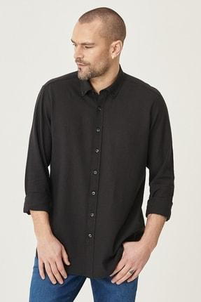 Altınyıldız Classics Erkek Siyah Tailored Slim Fit Dar Kesim Düğmeli Yaka Keten Gömlek 1
