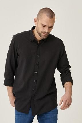 Altınyıldız Classics Erkek Siyah Tailored Slim Fit Dar Kesim Düğmeli Yaka Keten Gömlek 2