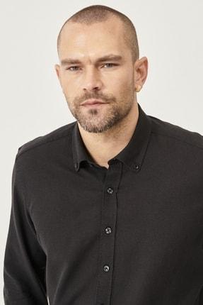 Altınyıldız Classics Erkek Siyah Tailored Slim Fit Dar Kesim Düğmeli Yaka Keten Gömlek 3