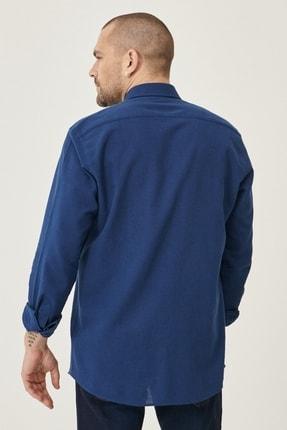 Altınyıldız Classics Erkek Lacivert Tailored Slim Fit Dar Kesim Düğmeli Yaka Keten Gömlek 4
