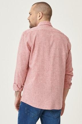 Altınyıldız Classics Erkek Kırmızı Tailored Slim Fit Dar Kesim Düğmeli Yaka Keten Gömlek 4