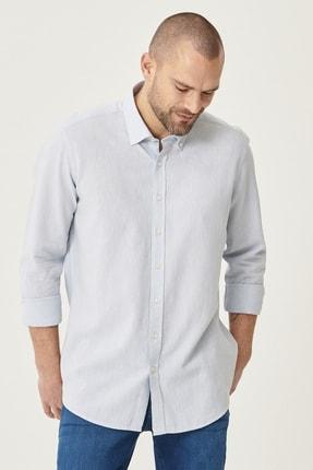 Altınyıldız Classics Erkek Açık Mavi Tailored Slim Fit Dar Kesim Düğmeli Yaka Keten Gömlek 0