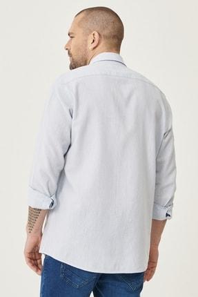Altınyıldız Classics Erkek Açık Mavi Tailored Slim Fit Dar Kesim Düğmeli Yaka Keten Gömlek 4