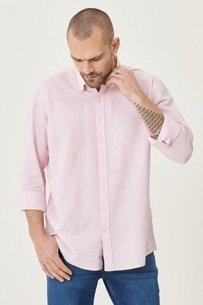 Altınyıldız Classics Erkek Pembe Tailored Slim Fit Dar Kesim Düğmeli Yaka Keten Gömlek 1