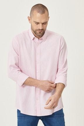 Altınyıldız Classics Erkek Pembe Tailored Slim Fit Dar Kesim Düğmeli Yaka Keten Gömlek 2