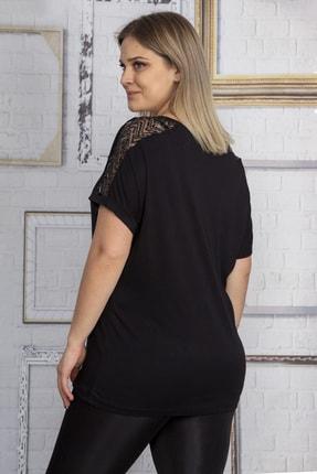 Şans Kadın Siyah Omuzları Tül Payet Detaylı Bluz 65N22861 2