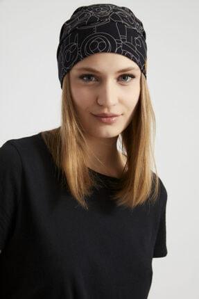 Butikgiz Kadın Siyah, Beyaz Desenli, Ip Detaylı 4 Mevsim Şapka Bere Buff -ultra Yumuşak Doğal Penye Kumaş 2