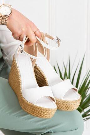 derithy Kadın Beyaz Vinle Dolgu Topuklu Ayakkabı lzt0590 2
