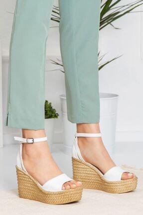 derithy Kadın Beyaz Vinle Dolgu Topuklu Ayakkabı lzt0590 3