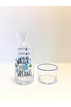 DEKOVİDİ Water Your Dreams Yazılı Başucu Sürahi Karaf Seti 1
