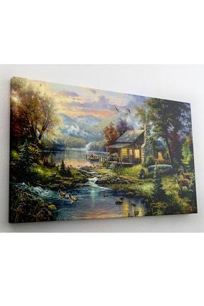 hanhomeart Orman Evi Göl Yağlı Boya Görünüm Kanvas Tablo 60x120cm 2