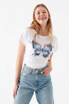 Mavi Kadın Kelebek Baskılı Beyaz Tişört 1600522-620 0